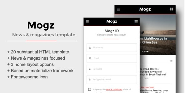 Mogz - News & Magazines Template For Mobile