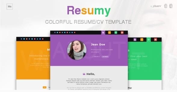 Resumy - Colorful Resume/CV Template