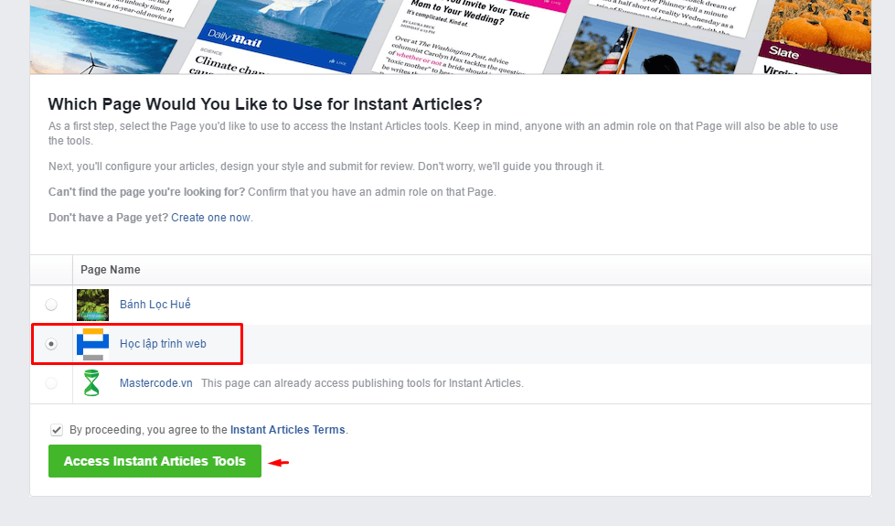 nhấp vào Access Instant Articles Tools