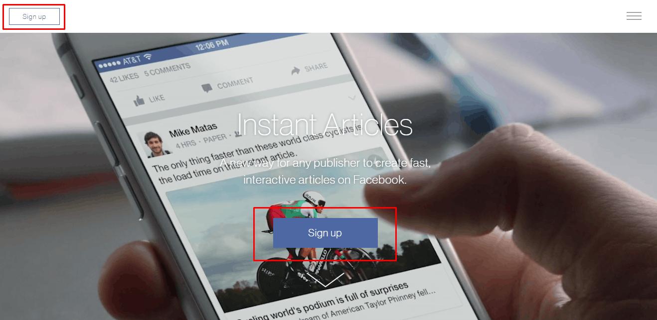 đăng ký Facebook Instant Articles