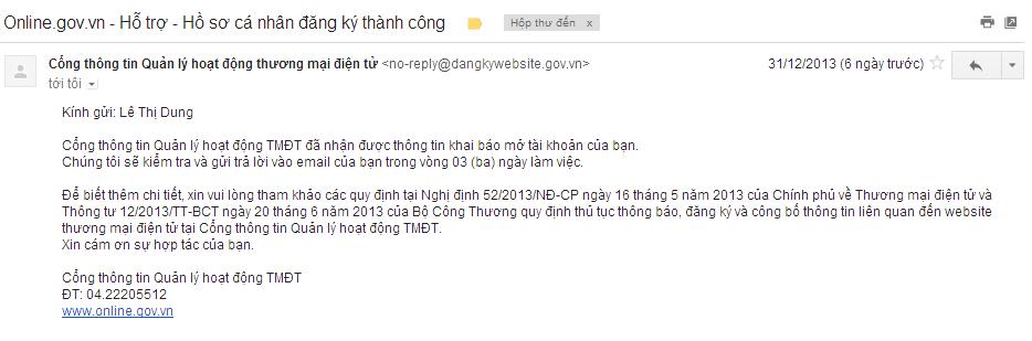 Quy trình đăng ký website thương mại điện tử với Bộ Công Thương