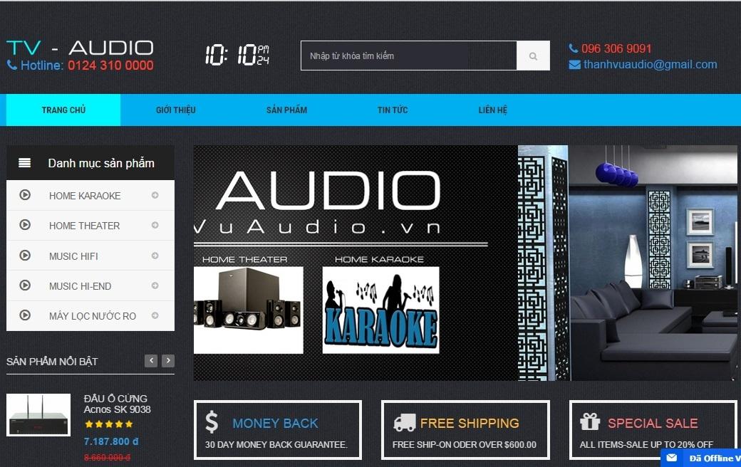 Thiết kế web bán thiết bị âm thanh audio cho công ty Thanh Vũ Audio